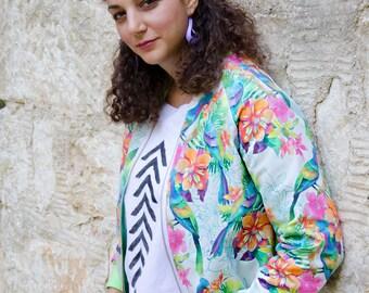Tropical Bomber Jacket, Green Pink Floral One of A Kind Jacket, Parrot Flower Print Jacket