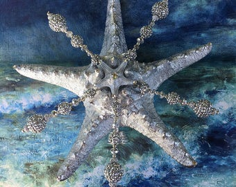 Holiday Tree Topper - Silver Disco Crystal Christmas Starfish
