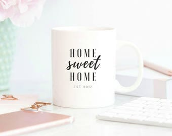new home housewarming gift, new home gift, home sweet home, 2017 new home, coffee mug, coffee mug with sayings,