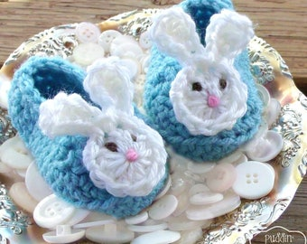 Baby Bunny Shoes, Easter Bunny Booties, Baby Bunny Slippers, Bunny Baby Boy Bunny Shoes, Aqua Blue Bunny Ear Slippers
