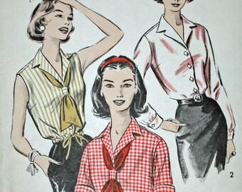 """Vintage 1950s Sewing Pattern, Advance  8654, Misses' Blouse or Blouson, Misses' Size 14, Bust 34"""", UNCUT, FF"""