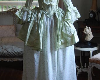 Summer Green silk and floral skirt Marie Antoinette Victorian inspired rococo costume dress halloween