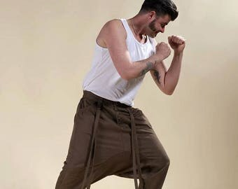 "harem pants modern harem pants brown man rock ""Buried"" ninja pants"