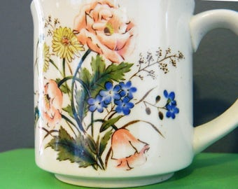 Secret Garden Floral Vintage Mug / Vintage Bouquet Coffee Mug / Stoneware Tea Cup Floral Retro Kitsch