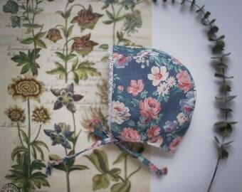Vintage floral bonnet | Floral baby bonnet | Blue and Pink Bonnet | Toddler hat | Bonnet with flowers | Baby Bonnet | Toddler Bonnet