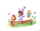 Let's Go - Toddler Baby Girl with Bunny and Fox - Brunette Brown Skin - Art Print