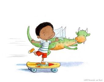 Dragon Race - Boy on Skateboard Racing Dragon - Art Print - Children