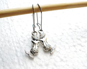 SALE -Silver Mermaid Earrings -Surgical Steel Earrings -Sweet Mermaid Earrings -Bridal Earrings -Bridesmaids Earrings -Best Friend Gift