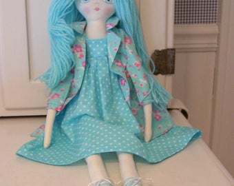 Darling Doll Ella...Hand Painted...22 inches tall....Blue....So Sweet