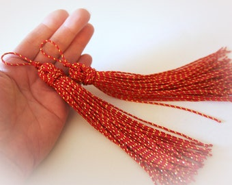 Set of Two Holiday Red and Gold Tassels. Christmas Tassel. Christmas Ornament. Crafting Supply