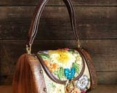 Vintage Wooden Floral Raffia Wicker Box Bag