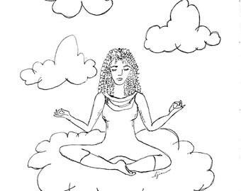 Cloud 9 Meditation, girl on a cloud meditating, wall art, reaching Nirvana B/W digital download pdf and 3 jpeg sizes