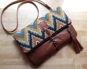 Crossbody bag, fold over purse, chevron bag, carpet bag, bohemian tapestry clutch with leather tassel