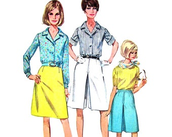 1960s Blouse Skirt Culottes Sewing Pattern Simplicity 7134 Inverted Pleat Size 12 or 14