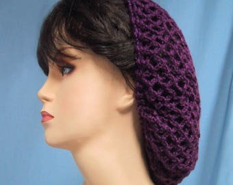 Crocheted Snood in Purple Color - Handmade - 1940s Retro Look - Food Service Hair Net - Vintage Inspired - Ren-Faire Costume Accessory
