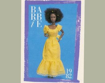 "Barbie Collectible Trading Card - ""Black Magic Curl Barbie!""  1982 - Card No. 143 for Barbie collectors, dioramas, Black Barbie Maxi Dress"