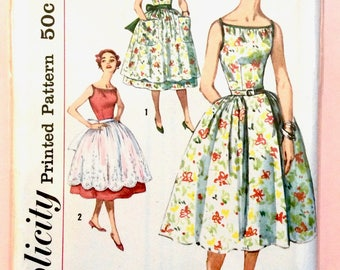 1950s party dress Simplicity 2535; ©1958; Sleeveless dress has a low, wide neckline. full skirt Uncut Factory Folded Vintage Sewing Pattern