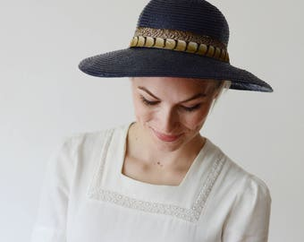70s Don Anderson Blue Straw Hat with Feather Band