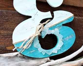 Beach Ampersand , Hand Painted Seascape Coastal Home Decor,Driftwood & sea glass Art