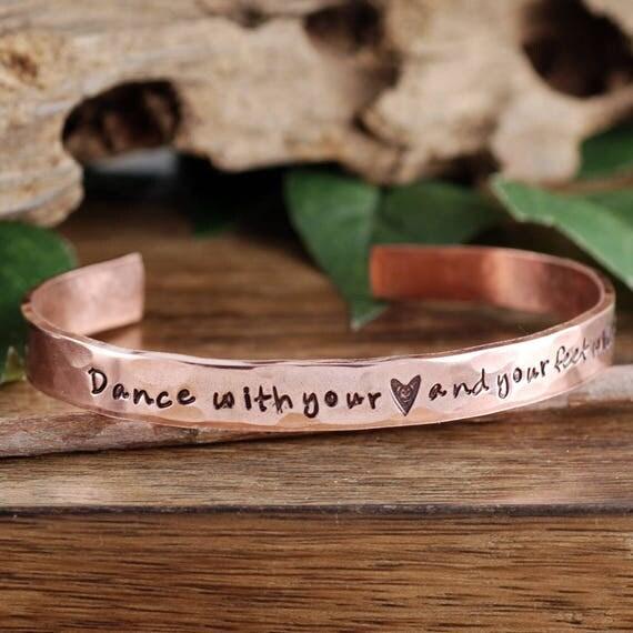Personalized Dance Bracelets, Copper Cuff Bracelet, Dance with your Heart Jewelry, Dance Bracelet, Dance Gift, Gift for Dancer, Gift for her