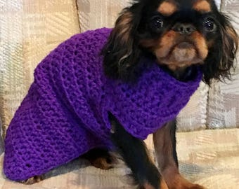 Dog Sweater Purple Doggie Sweater Puppy Sweater  Dog Jacket Animal Fashion Pet Clothing