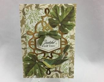 Anna Griffin,  Handmade Card, Grateful For You, Kindness, Bird