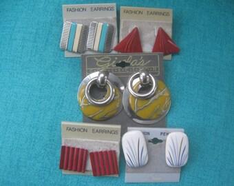Vintage Earrings 80s  Geometric Punk New Wave 5 Pairs
