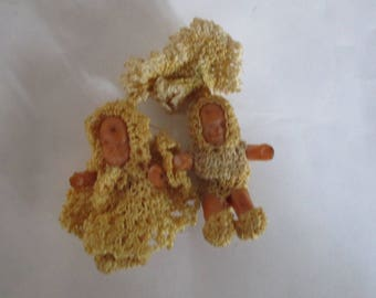 Antique  Crochet Baby Dolls~  Girl & Boy Pin-back Brooch ONE OF A KIND