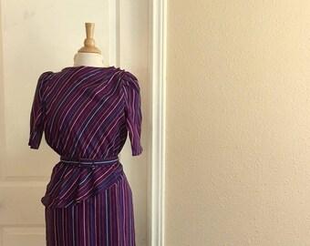 Vintage Purple Striped Peplum Dress With Matching BELT / 70s Eber San Francisco / Purple ASYMMETRICAL Dress / Womens Small Medium