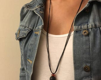 raw lava diffuser necklace - minimalist statement jewelry