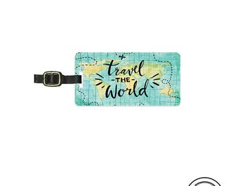 Luggage Tag  Travel the World Watercolor Design Metal Luggage Tag  With Custom Info On Back, Single Tag