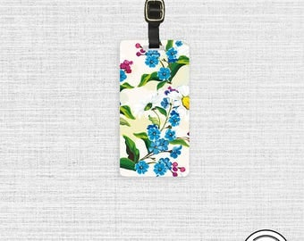 Luggage Tag Watercolor Florals Metal Luggage Tag With Printed Custom Info On Back, Single Tag