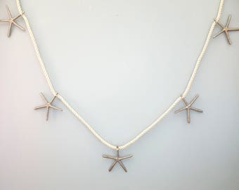 Beach Decor Starfish Garland - Nautical Starfish Garland w (5) Aluminum Starfish on Authentic Cotton Nautical Roping - 6FT