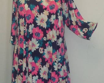 Plus Size Tunic, Coco and Juan, Plus Size Asymmetrical, Tunic Top, Navy Pink Floral, Traveler Knit Size 1 (fits 1X,2X)   Bust 50 inches