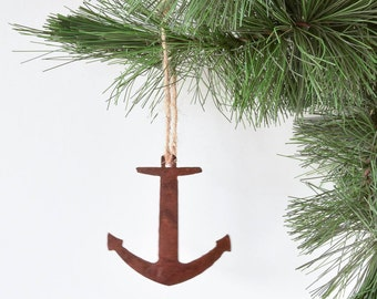 Rustic Anchor Metal Ornament , Nautical Ornament with Southwest Flair, Ocean Inspired, Christmas Ornament, Everyday Ornament / Gift for Navy
