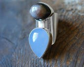 Third Eye Ring Blue Chalcedony and Agate