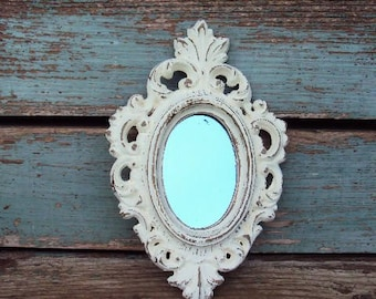 Shabby Chic Vintage Mirror Baroque Rococo Ornate Frame Antique off White Vintage Small Frame Nursery Wedding Display French Country Burwood