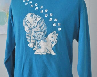 Vintage Cat Sweatshirt Aqua Blue White Kitten Paws Cats Kitty Ladies 80s Aqua Blue LARGE