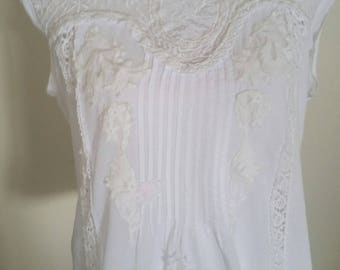 upcycled white lace top, victorian look, white embroidery, seed beads, lace appliques, one of a kind