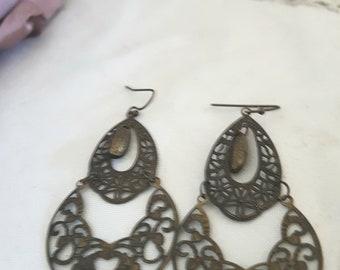 elven jewelery, elven earrings, gypsy hippy earrings, boho dangle earrings, art nouveau