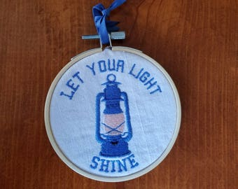 Let Your Light Shine Lantern Embroidered Wall Hanging Home Decor Handmade Gift