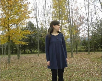 Sample Sale Womens Small Cotton Navy Blue Jersey Knit Tunic Dress Made in the USA