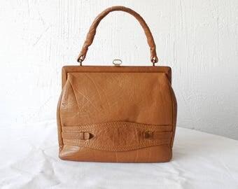 50s 60s tan leather hand bag. small distressed leather handbag