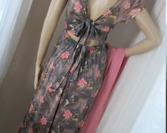 1960s 1970s Vintage Young Innocent by Arpeja Tie Back Floral Maxi Gown Size M 11 US