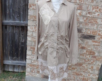 Altered Beige Cotton Blouse Tunic, Scalloped Tea-Dyed Lace Embroidered Bottom, Vintage Look,Size XXL 20,Shabby Chic, Doilies and Lace Top