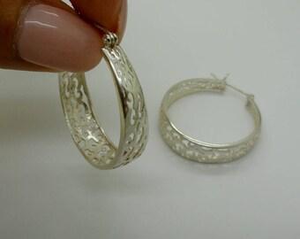 Hoop Ethnic Earrings, 925 sterling silver Earrings, filigree silver hoop earrings, big hoop earring, Simple Modern Earrings, Free Shipping