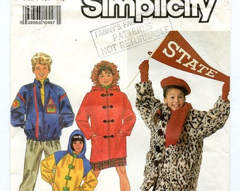 Vintage 90s Simplicity 9871 Kids' Button Front Jacket UNCUT Sewing Pattern - Unisex, Boys', Girls' Coat Sizes Small Medium Large