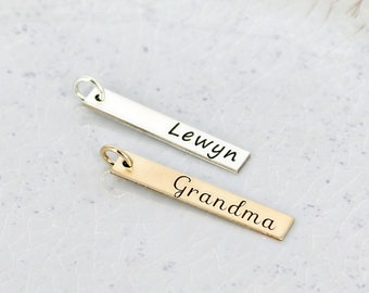 Gold personalized bar charm • Personalized charm • Name Charm • Personalized Bar charm • Sterling silver or gold-filled • Bar necklace charm