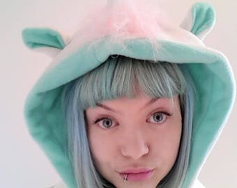 Unicorn festival Hood. Mint and Cream Unicorn Hood. Hooded unicorn scarf. Cosplay Hood. Fleece cosplay hood.