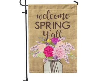 Happy Spring Y'all Garden Flag